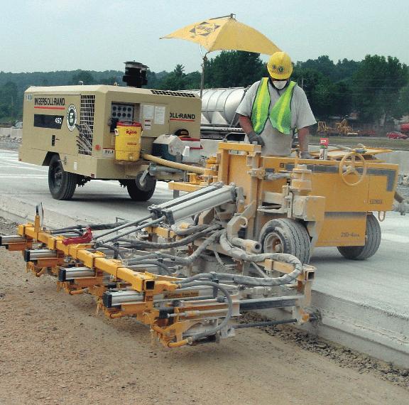 E-Z Drill 210-4 SRA slab rider concrete drill road widening